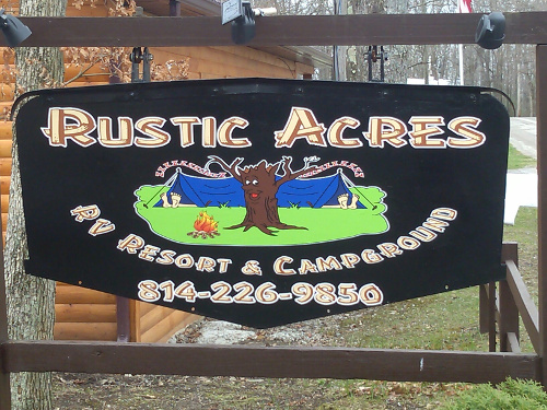 Rustic Acres Sign at entrance